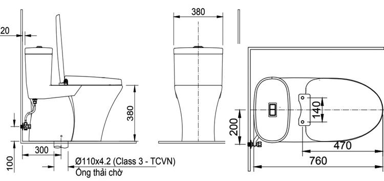 Bảng vẽ kỹ thuật bồn cầu AC-959VAN