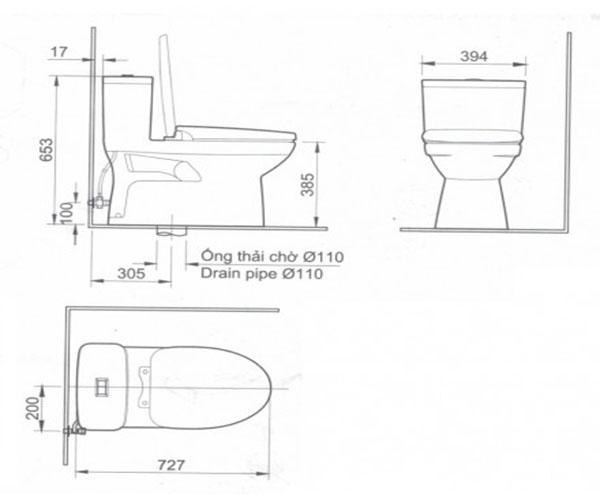 Bảng vẽ kỹ thuật bàn cầu inax 1 khối ac-969vn